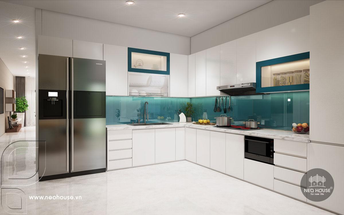Nội thất phòng bếp và phòng ăn nhà phố tân cổ điển 3 tầng