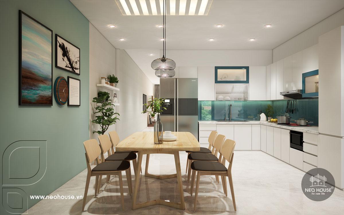 Thiết kế nội thất phòng bếp và phòng ăn nhà phố tân cổ điển 3 tầng