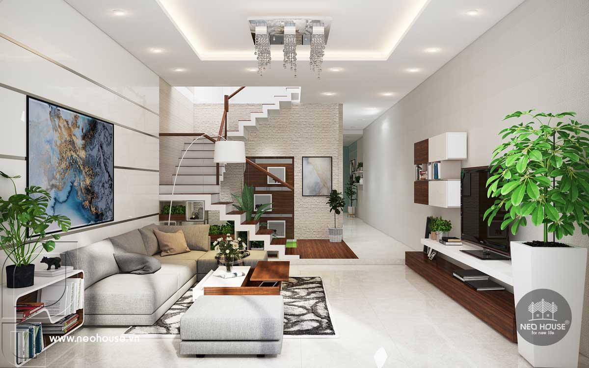 Thiết kế nội thất phòng khách nhà phố tân cổ điển 3 tầng