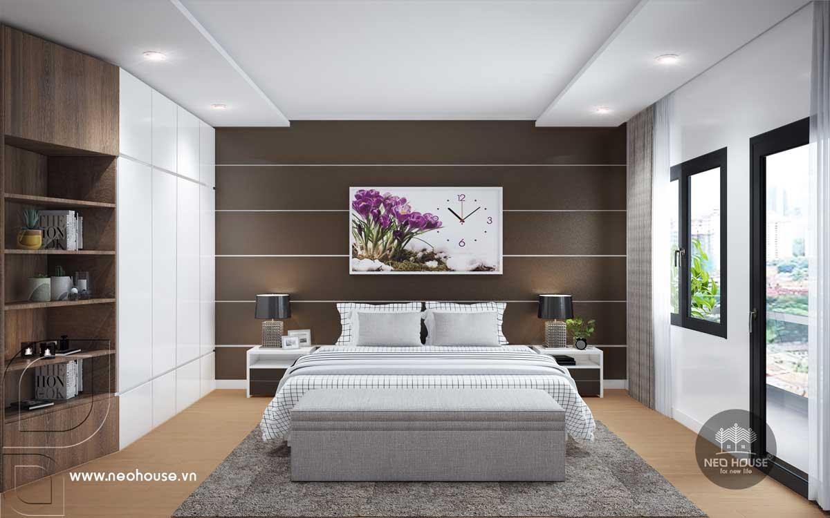 Phối cảnh nội thất phòng ngủ Master nhà phố tân cổ điển 3 tầng
