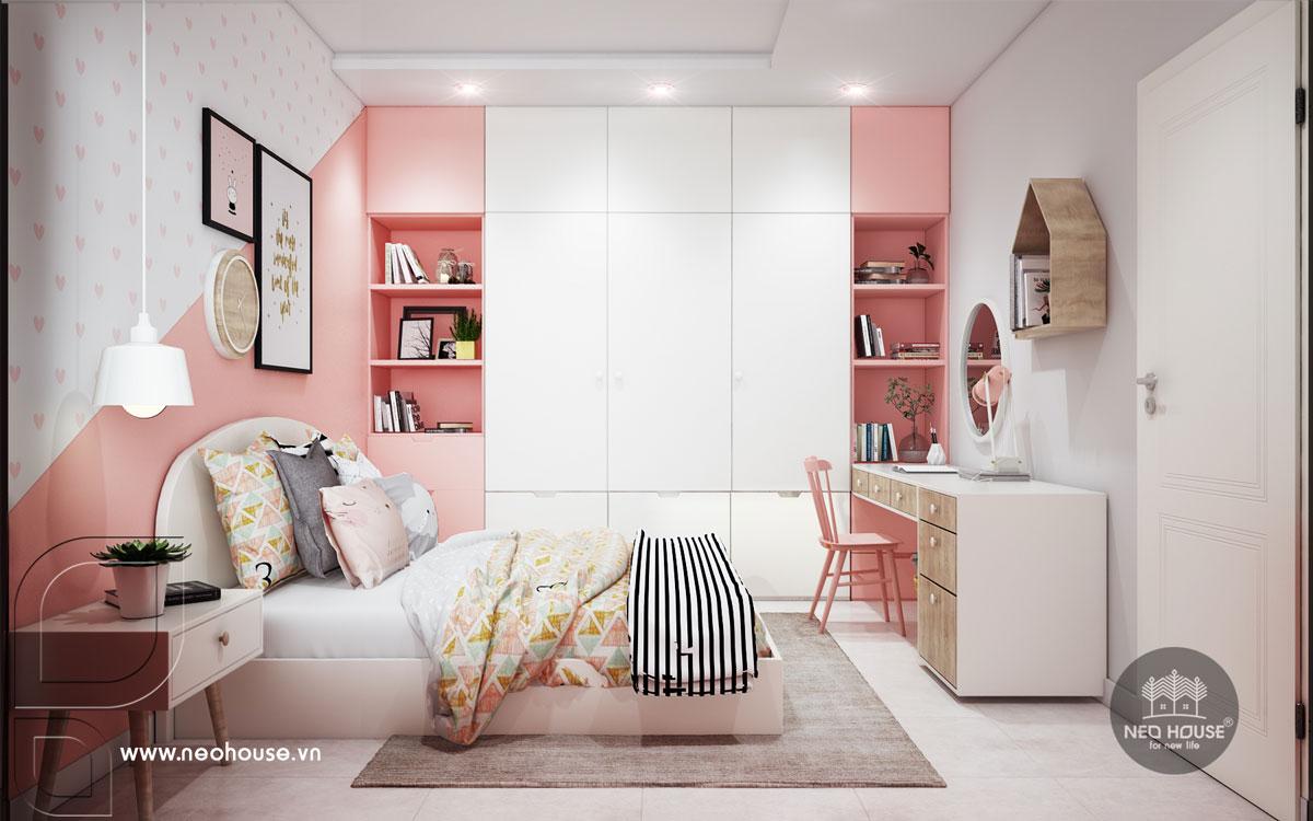Nội thất phòng ngủ bé gái nhà phố tân cổ điển 3 tầng