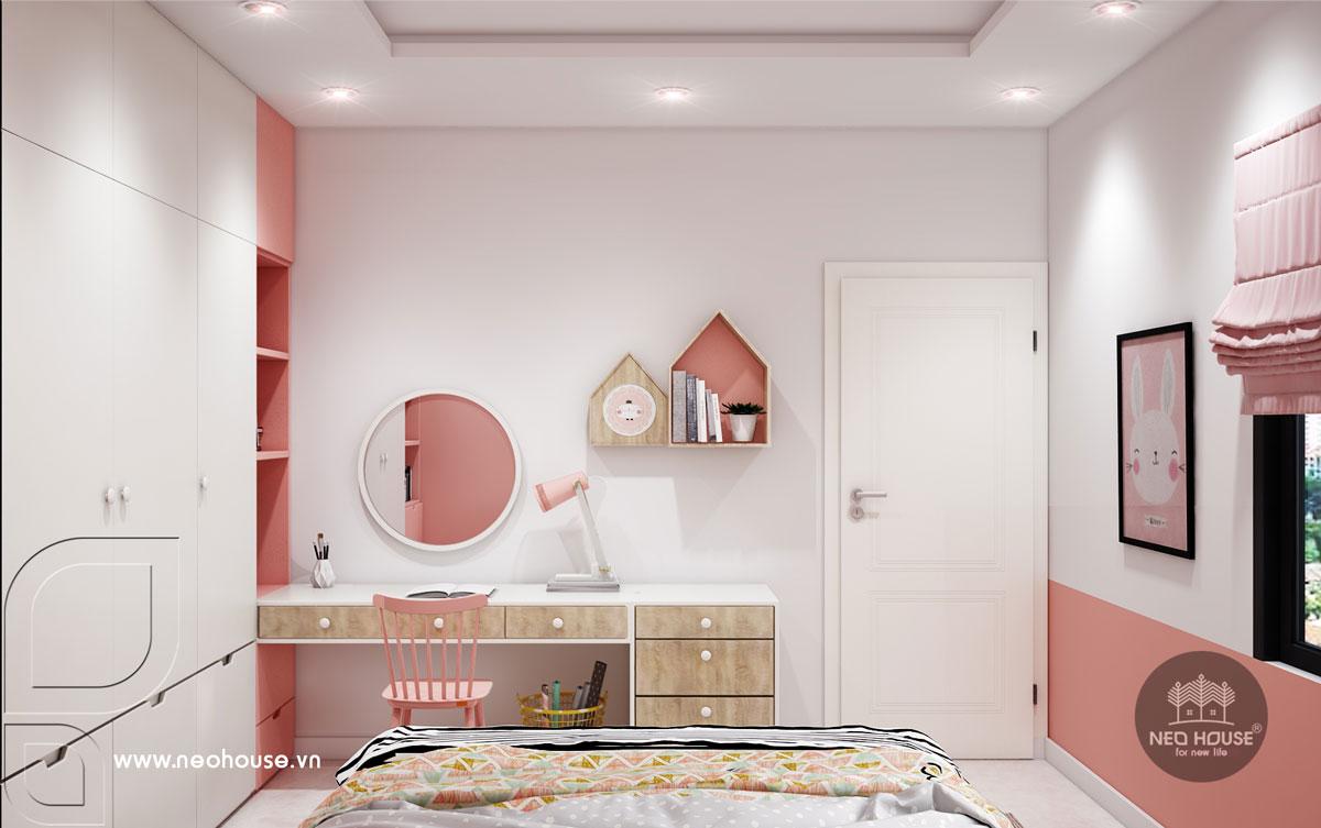 Mẫu nội thất phòng ngủ bé gái nhà phố tân cổ điển 3 tầng