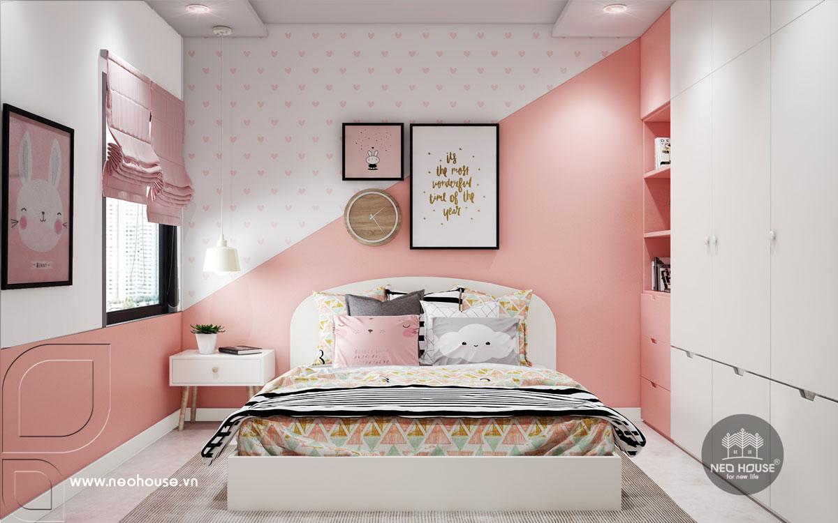 Phối cảnh nội thất phòng ngủ bé gái nhà phố tân cổ điển 3 tầng