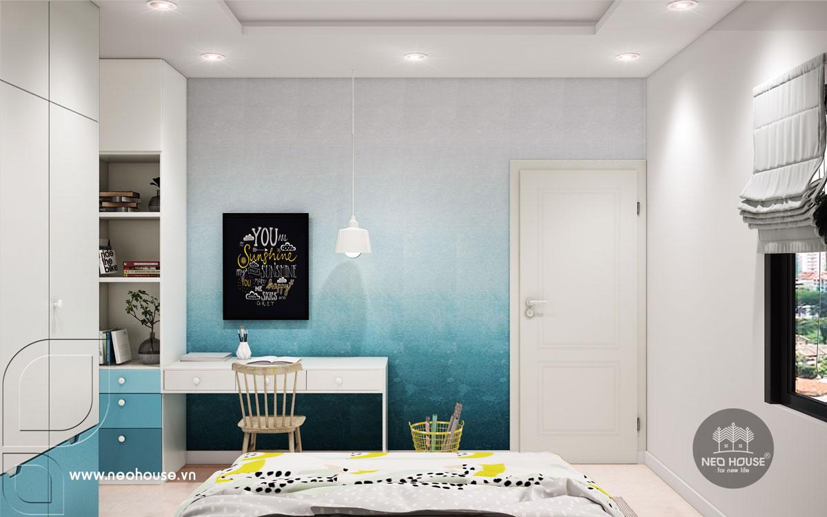 Mẫu nội thất phòng ngủ bé trai nhà phố tân cổ điển 3 tầng