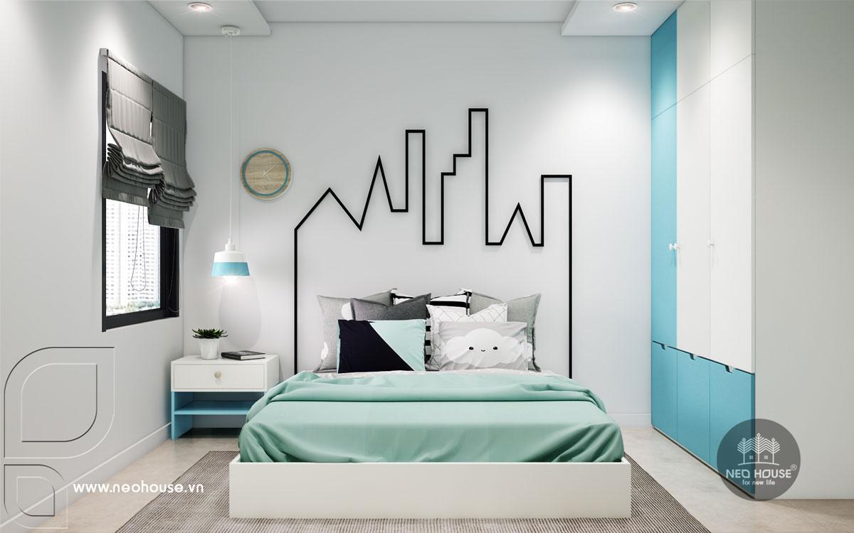 Phối cảnh nội thất phòng ngủ bé trai nhà phố tân cổ điển 3 tầng
