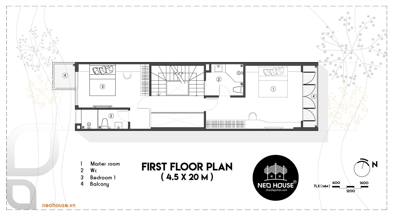 Mặt bằng lầu 1 mẫu nhà phố 4 tầng đẹp