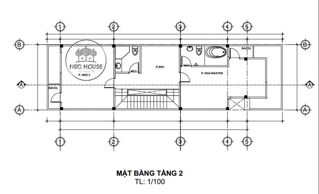 Mặt bằng lầu 1 nhà phố 5x20m 2 tầng hiện đại