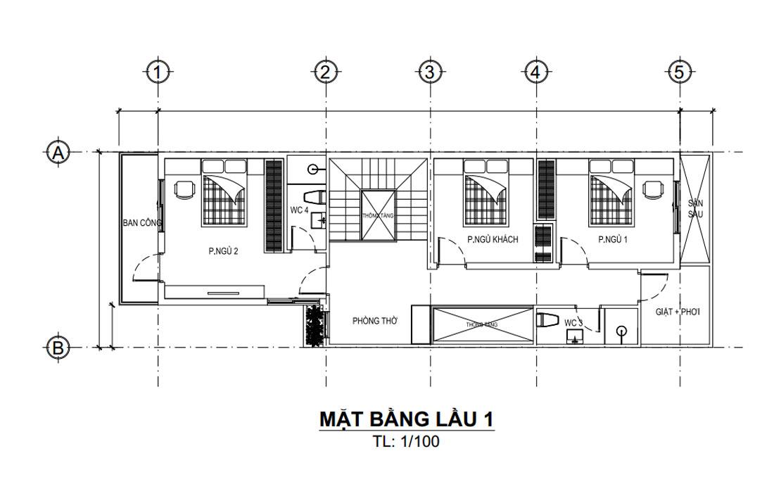 Mặt bằng lầu 1 mẫu nhà phố đẹp 3 tầng