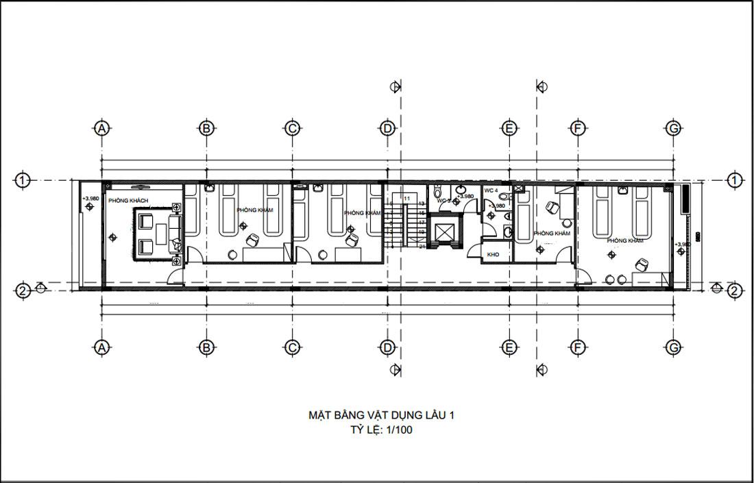 Mặt bằng lầu 1 thiết kế nhà phố vừa ở vừa kinh doanh