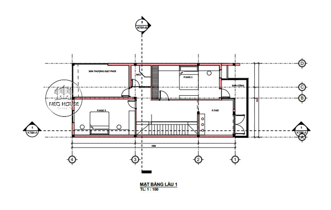 Mặt bằng lầu 1 nhà phố 2 tầng