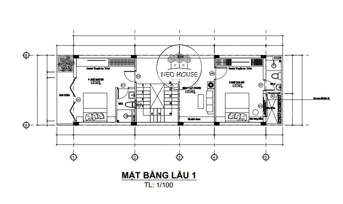 Mặt bằng công năng lầu 1 nhà phố mặt tiền 5m 3 tầng