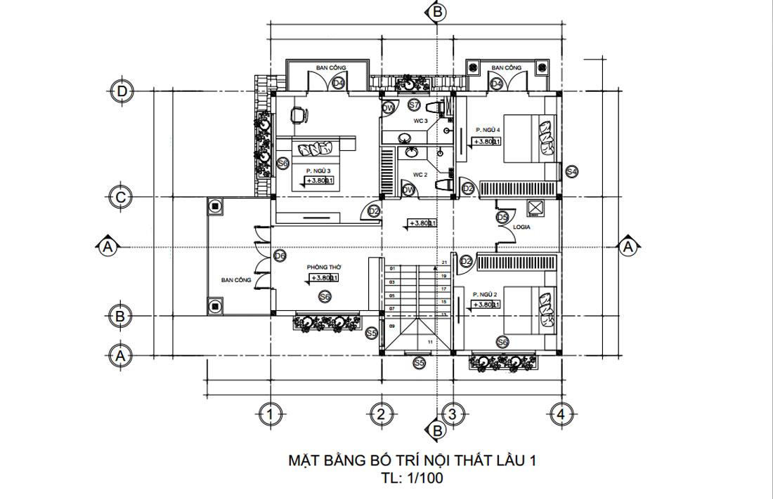 Mặt bằng lầu 1 nhà phố đẹp 2 tầng mặt tiền 5m