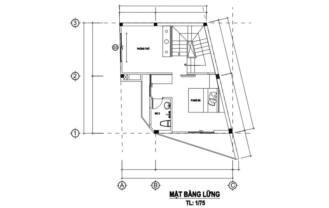 Mặt bằng lầu 1 nhà phố hiện đại 4 tầng