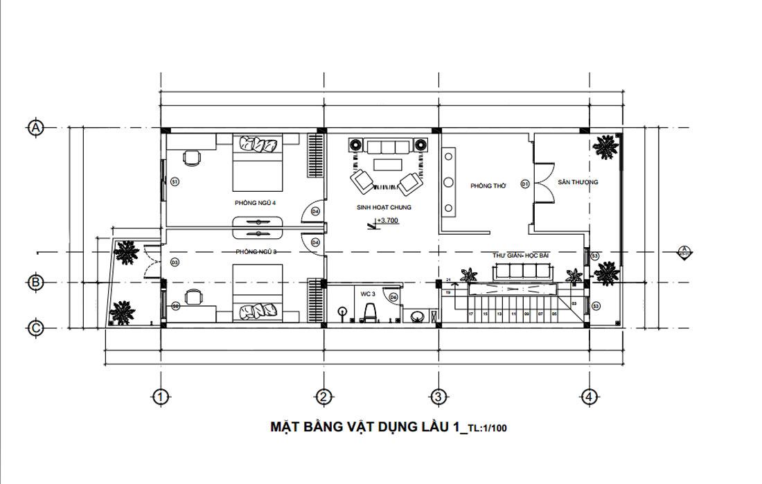 Mặt bằng lầu 1 nhà phố hiện đại mặt tiền 7m