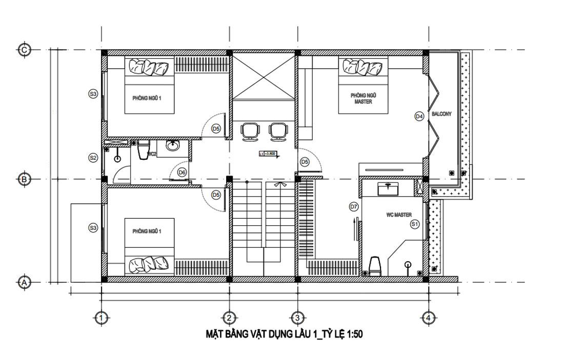 Mặt bằng lầu 1 nhà phố hiện đại mặt tiền 8m