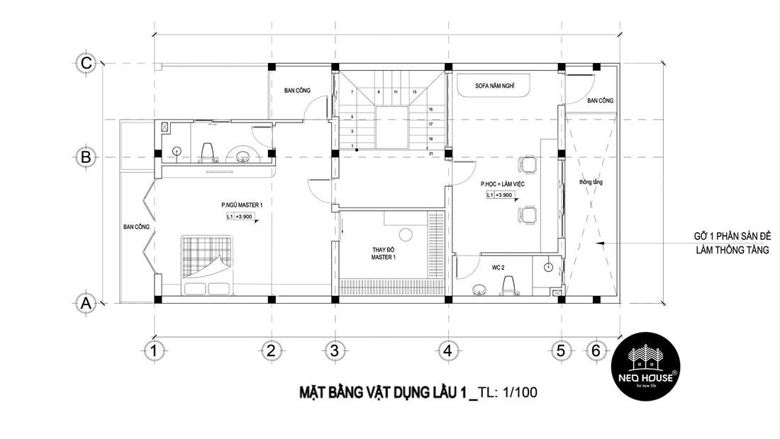 Mặt bằng lầu 1 thiết kế nhà phố mặt tiền 8m