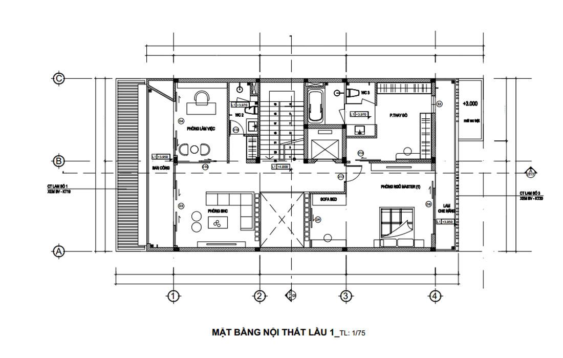 Mặt bằng công năng lầu 1 nhà phố 3 tầng hiện đại
