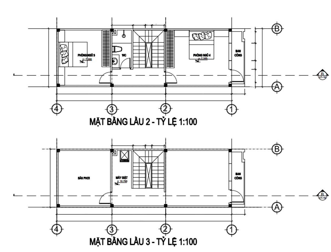 Mặt bằng lầu 2 và lầu 3 nhà phố 4 tầng