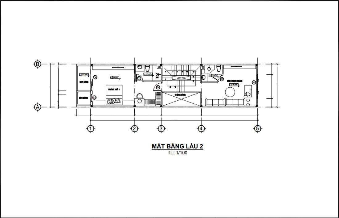 Mặt bằng lầu 2 mẫu nhà phố hiện đại mặt tiền 4m