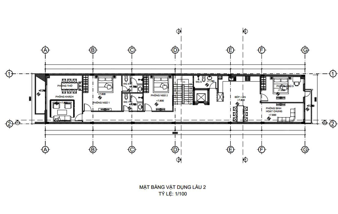 Mặt bằng lầu 2 thiết kế nhà phố vừa ở vừa kinh doanh