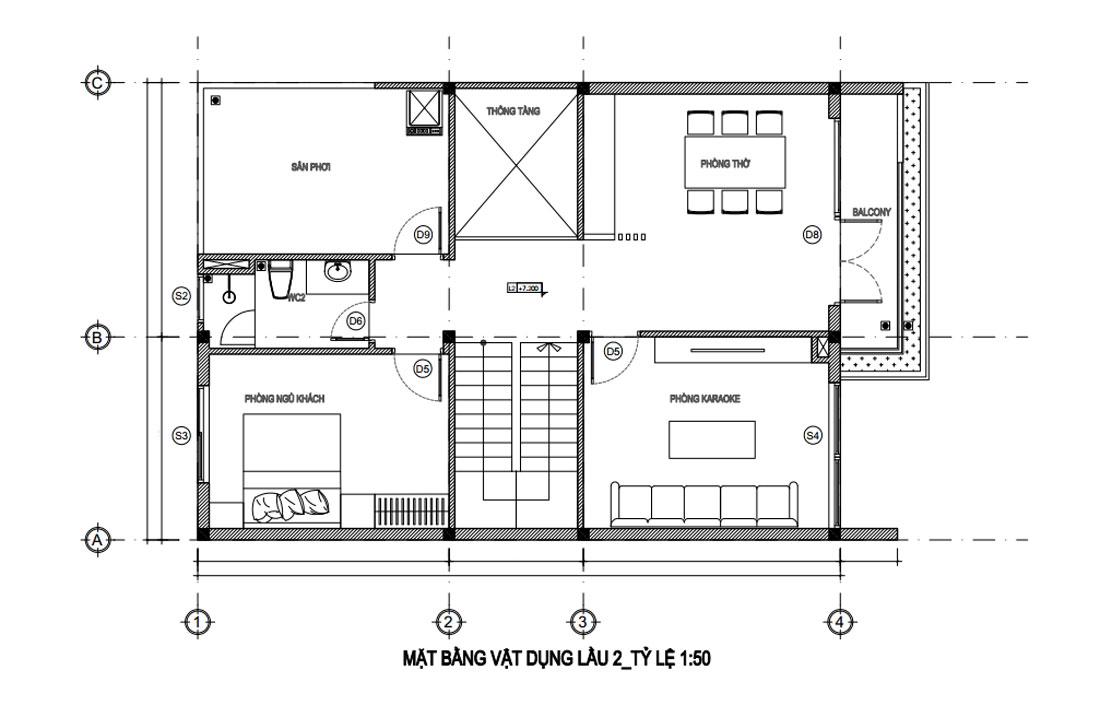 Mặt bằng lầu 2 nhà phố hiện đại mặt tiền 8m