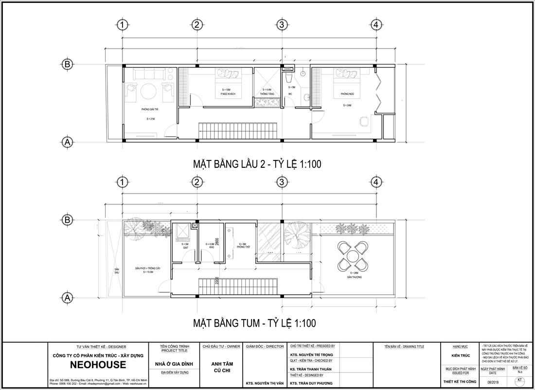 Mặt bằng lầu 2 và tầng tum nhà phố mặt tiền 5m