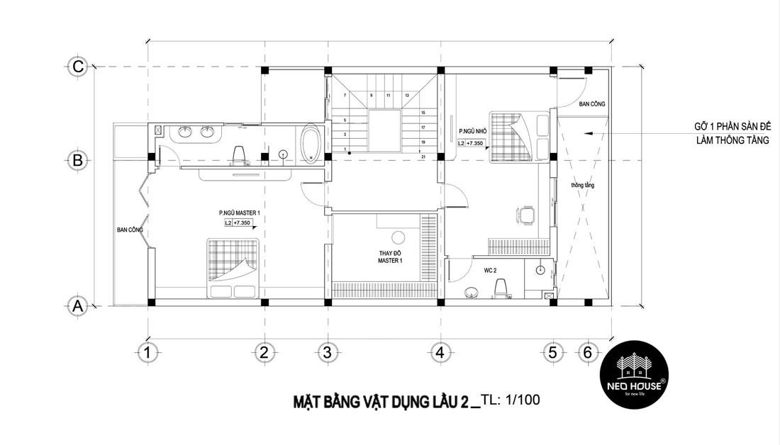 Mặt bằng lầu 2 thiết kế nhà phố mặt tiền 8m