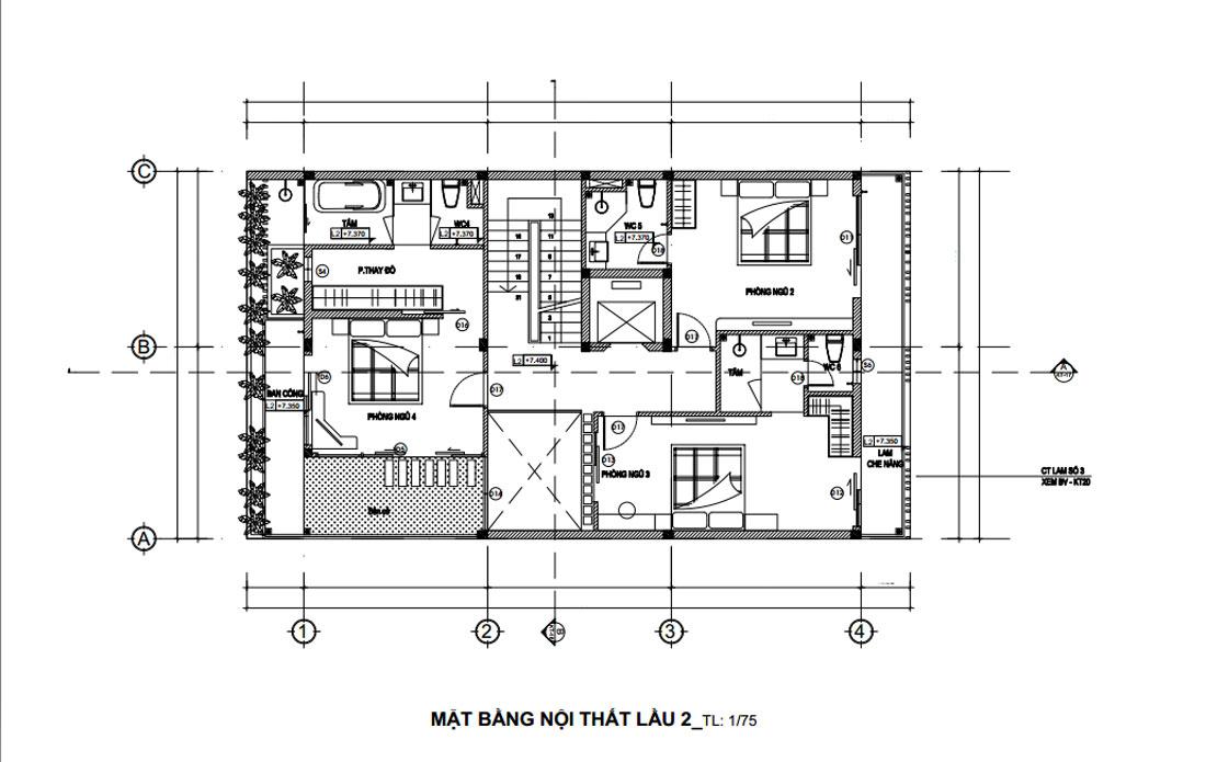 Mặt bằng công năng lầu 2 nhà phố 3 tầng hiện đại