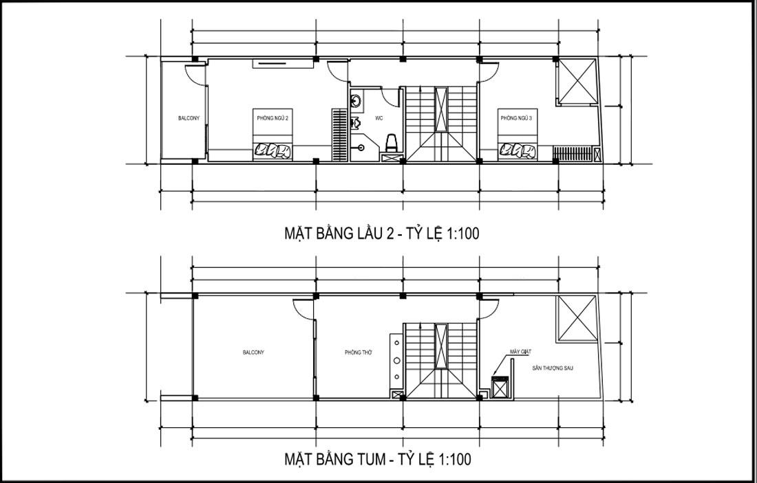 Mặt bằng lầu 2 và tầng tum mẫu nhà phố mặt tiền 4m