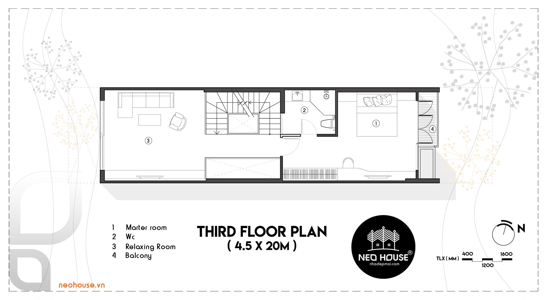 Mặt bằng lầu 3 nhà phố 4 tầng đẹp