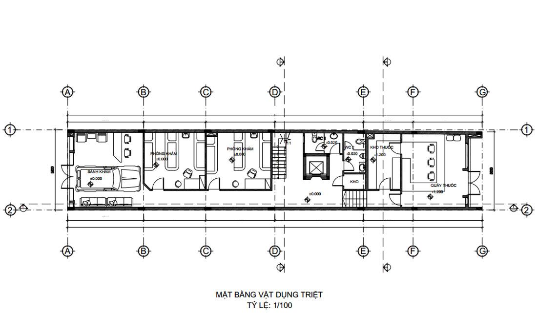Mặt bằng tầng trệt thiết kế nhà phố vừa ở vừa kinh doanh