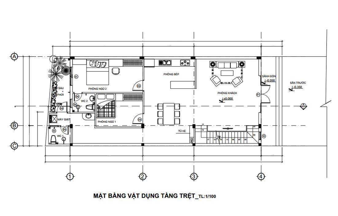 Mặt bằng tầng trệt mẫu thiết kế nhà phố mặt tiền 7m