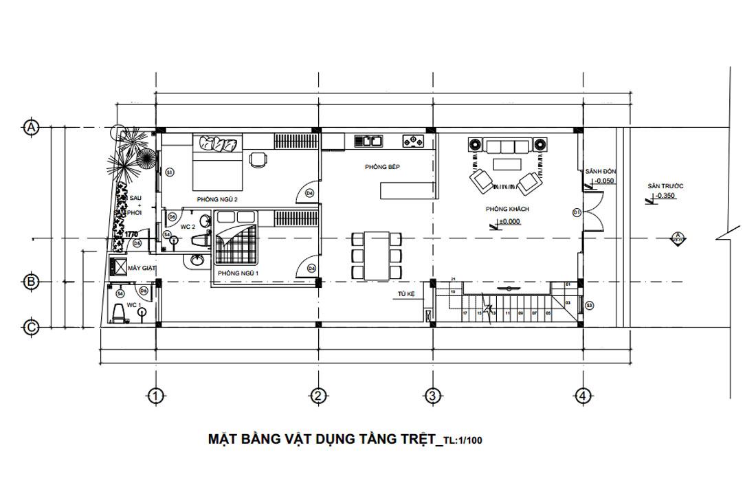 Mặt bằng tầng trệt nhà phố hiện đại mặt tiền 7m