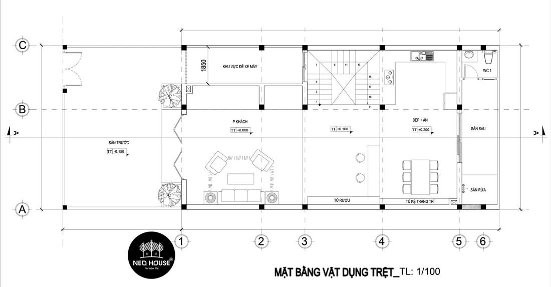 Mặt bằng tầng trệt thiết kế nhà phố mặt tiền 8m