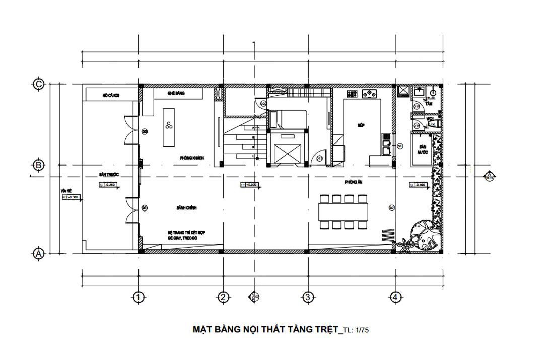 Mặt bằng tầng trệt thiết kế nhà phố mặt tiền 9m