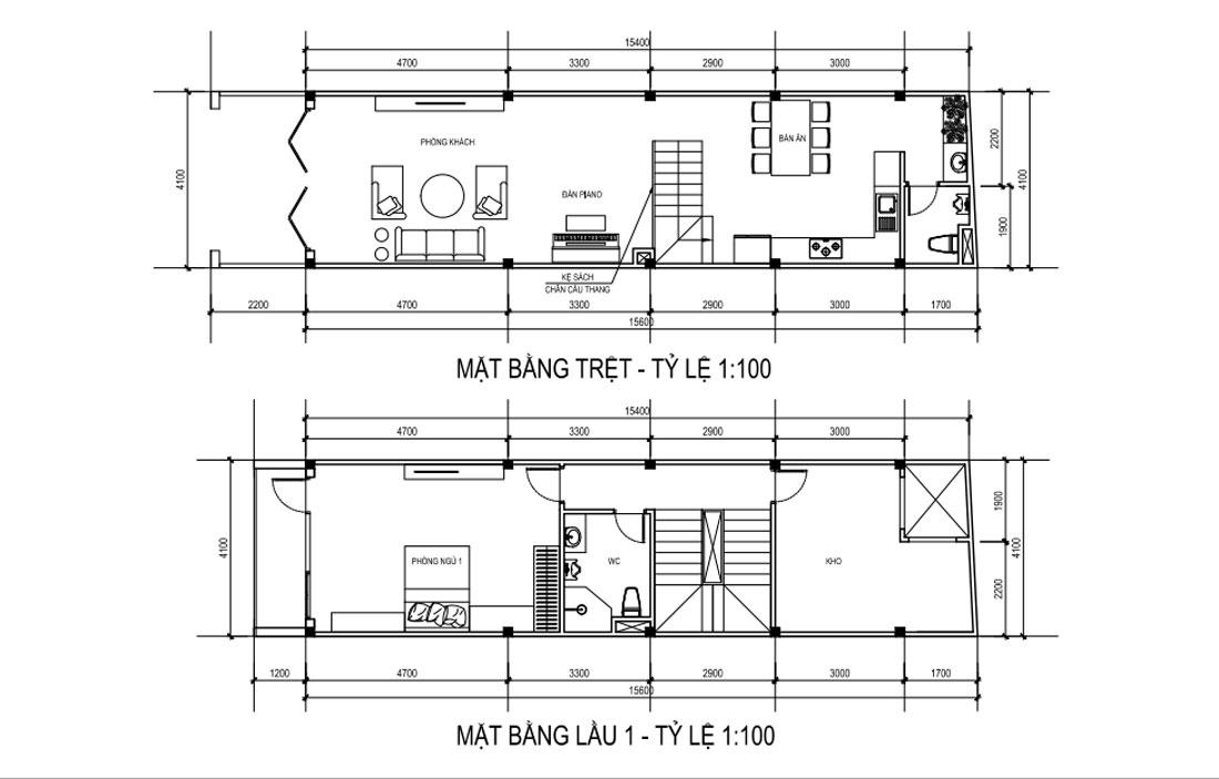 Mặt bằng tầng trệt và lầu 1 mẫu nhà phố mặt tiền 4m