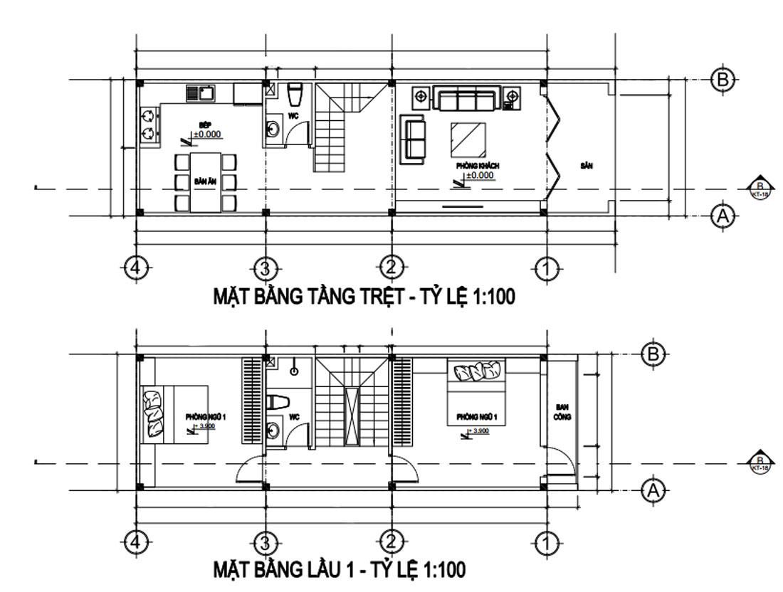 Mặt bằng tầng trệt và lầu 1 nhà phố 4 tầng