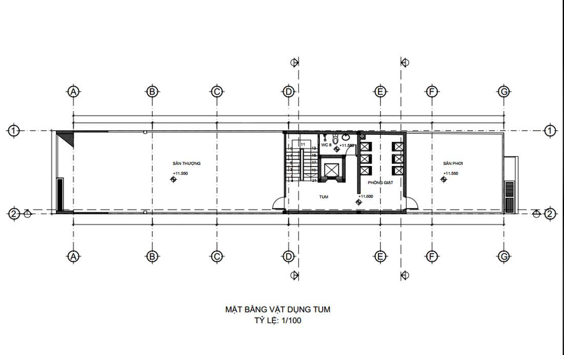 Mặt bằng tầng tum mẫu thiết kế nhà phố mặt tiền 6m