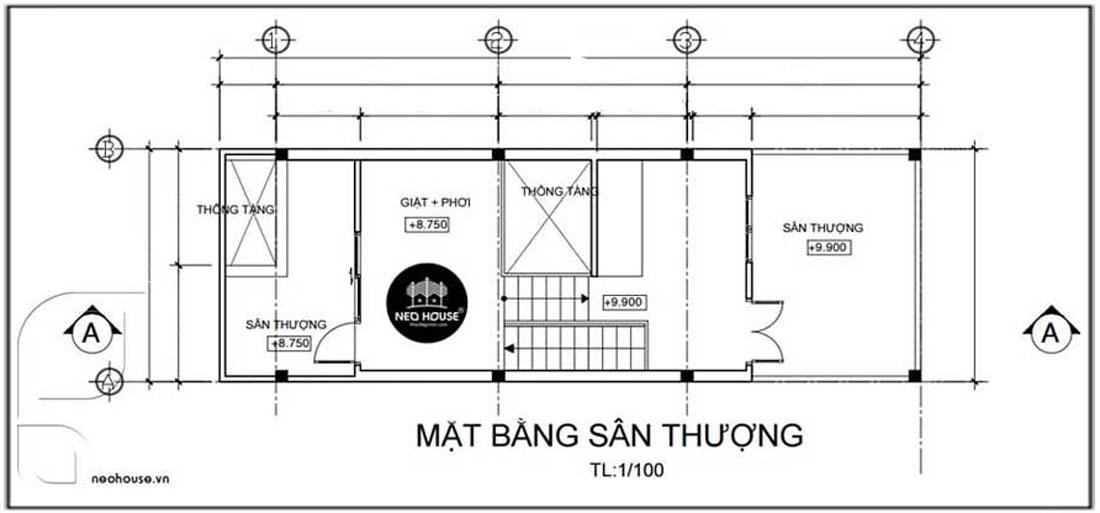 Mặt bằng tầng tum nhà phố hiện đại 3 tầng