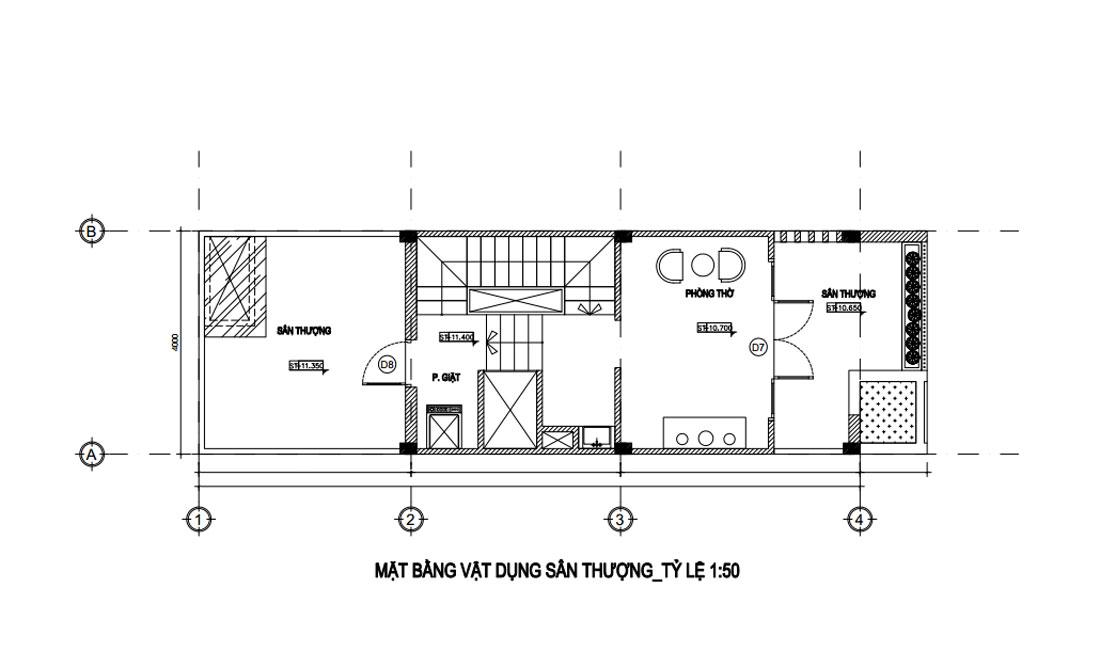 Mặt bằng lầu tầng tum nhà phố hiện đại đẹp 4 tầng
