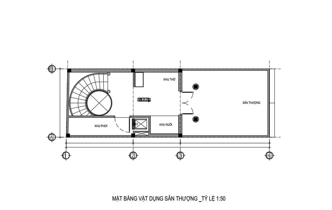 Mặt bằng tầng tum nhà phố tân cổ điển 6 tầng 1 tum