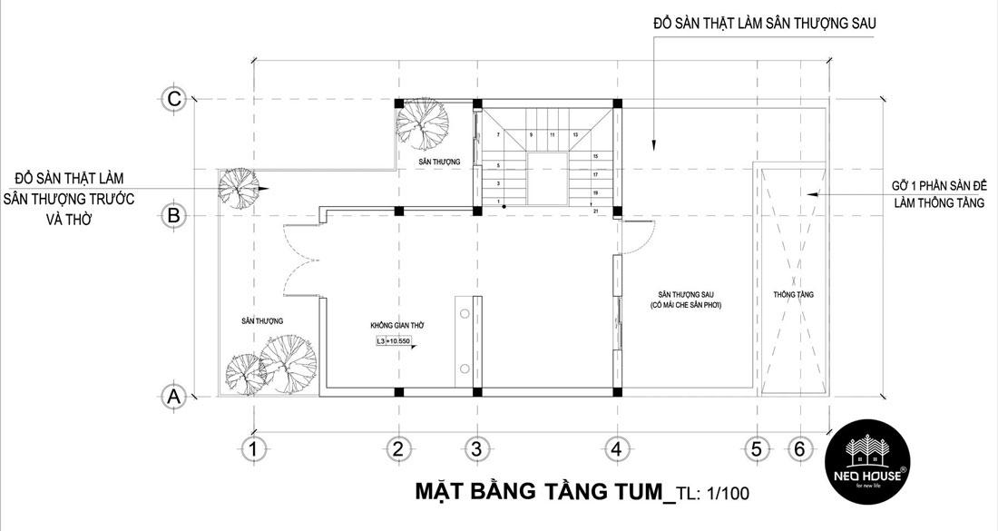 Mặt bằng tầng tum thiết kế nhà phố mặt tiền 8m