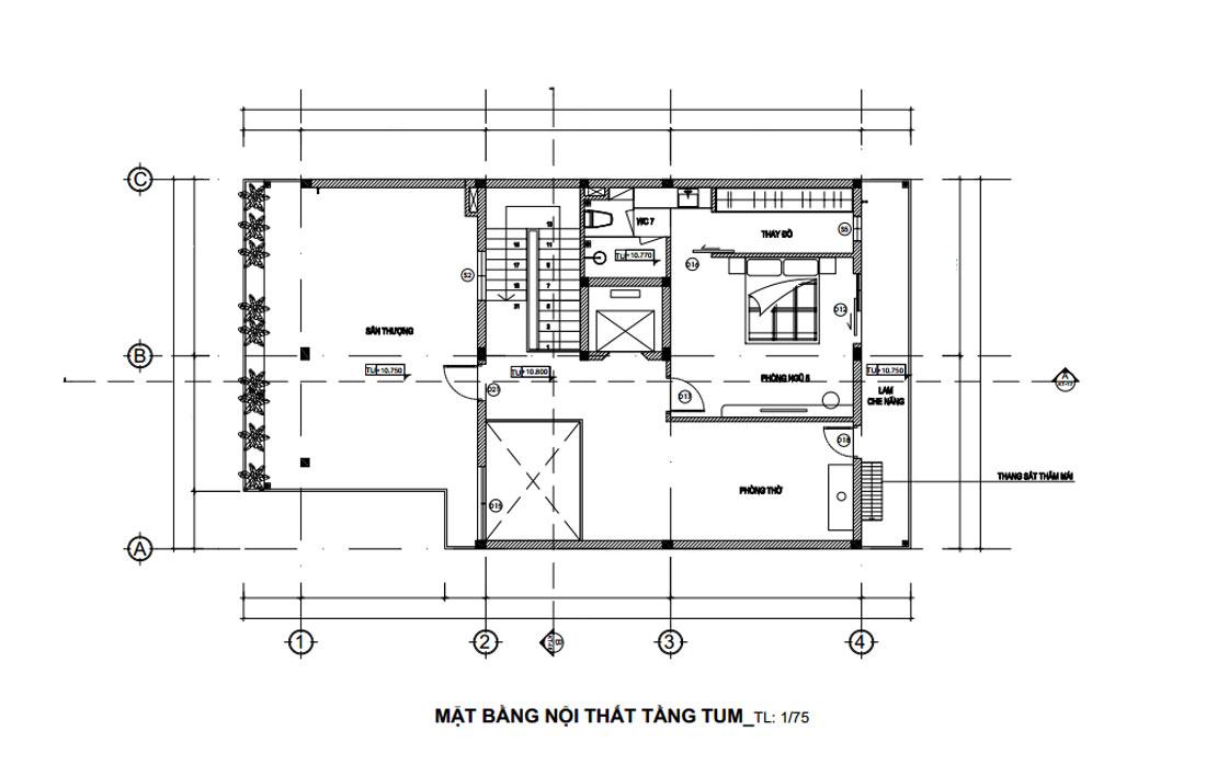 Mặt bằng công năng tầng tum nhà phố 3 tầng hiện đại