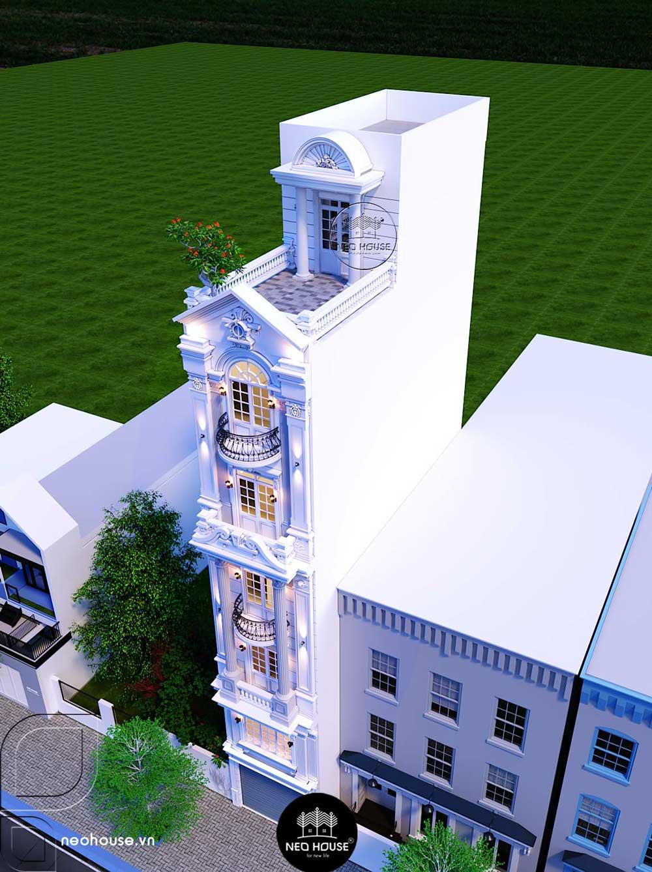 Phối cảnh thiết kế nhà phố tân cổ điển 6 tầng 1 tum