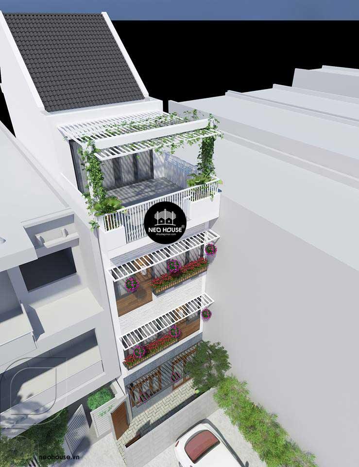 Phối cảnh nhà phố đẹp 3 tầng hiện đại