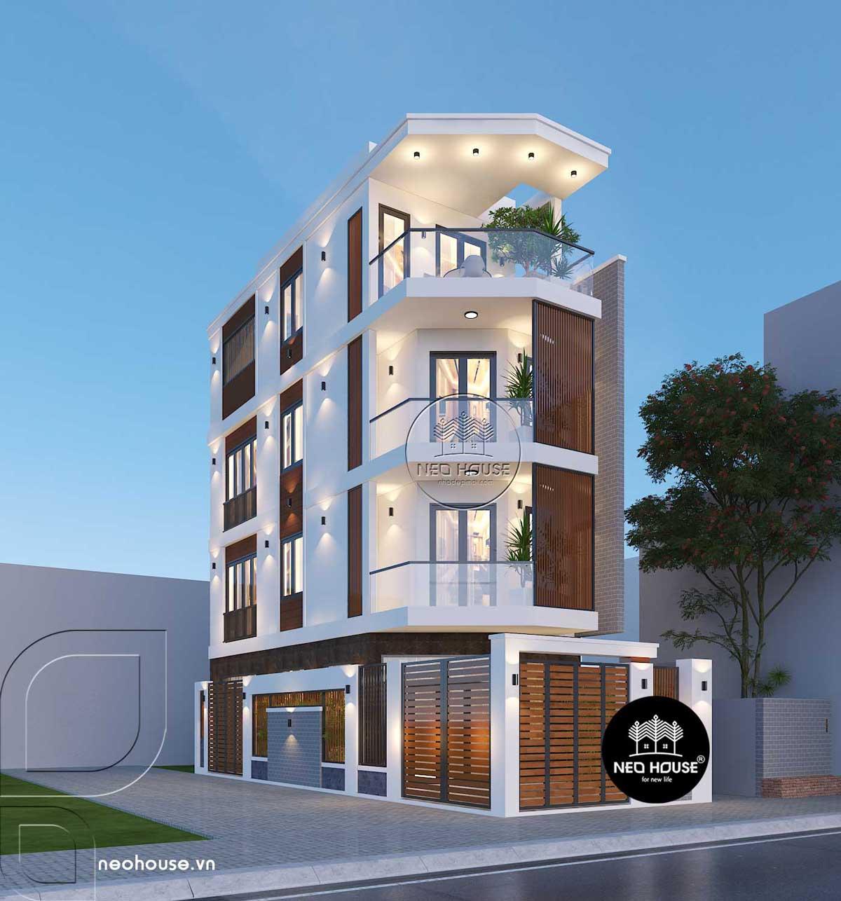 Mẫu thiết kế nhà phố 2 mặt tiền 4 tầng