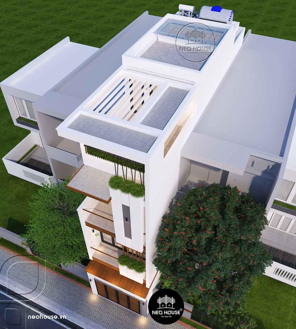 Mẫu nhà phố mặt tiền 4m hiện đại