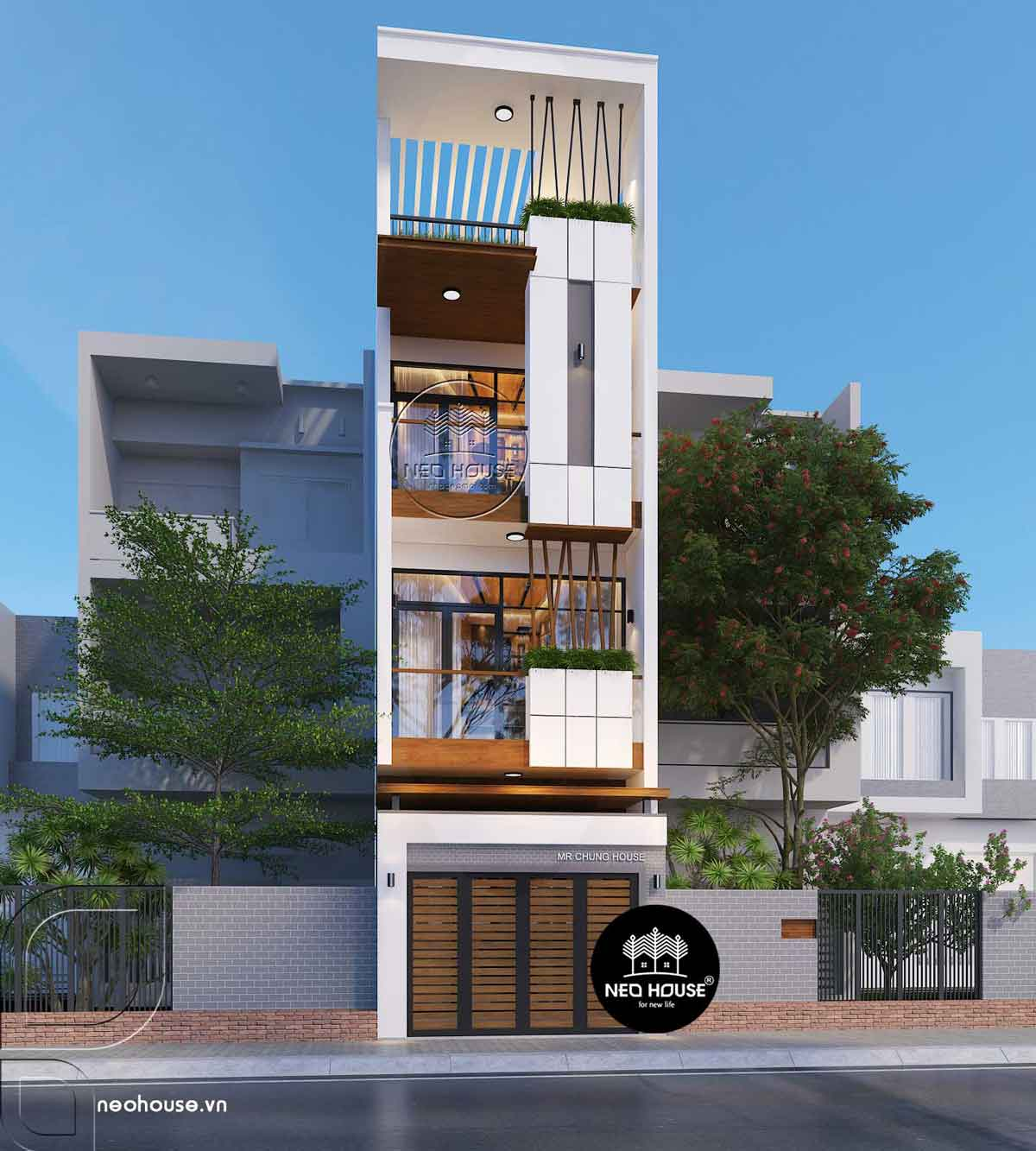 Thiết kế nhà phố mặt tiền 4m hiện đại
