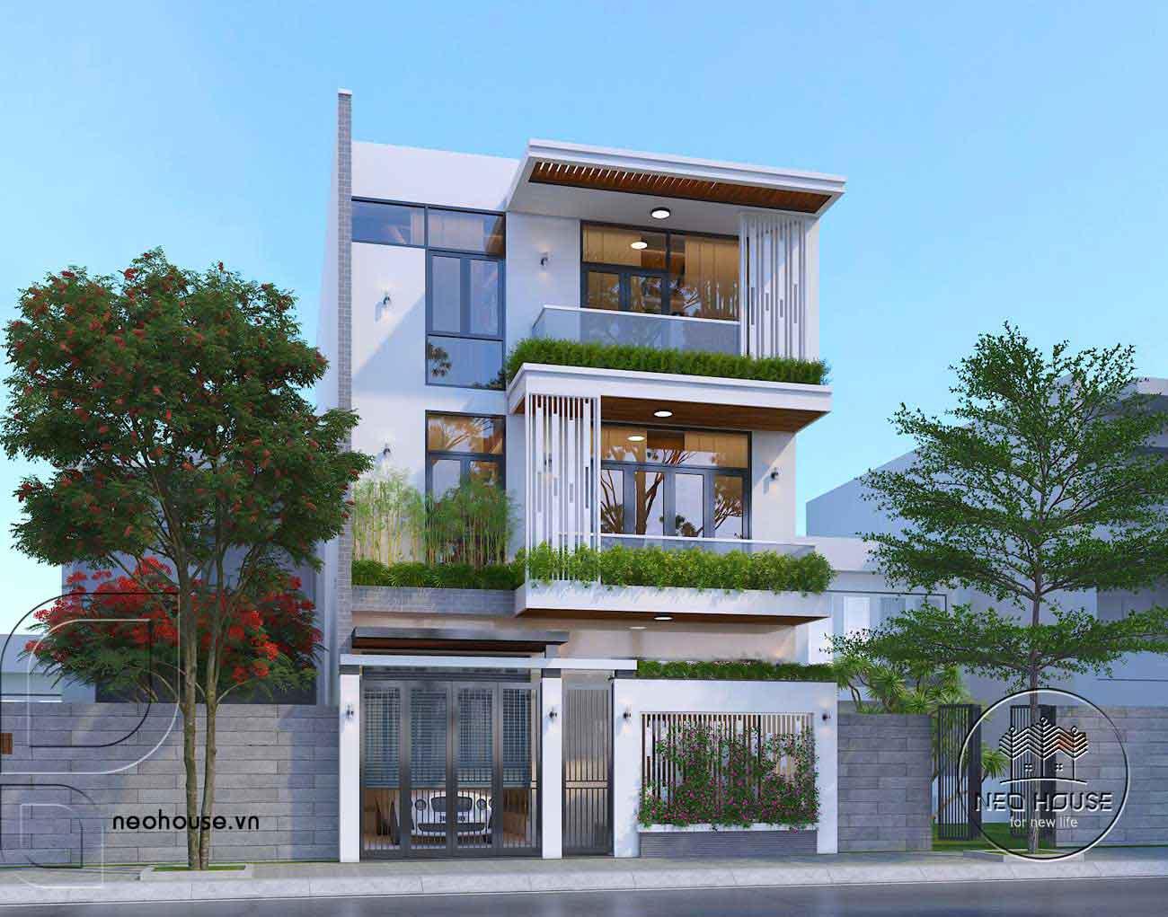 Mẫu thiết kế nhà phố mặt tiền 8m đẹp