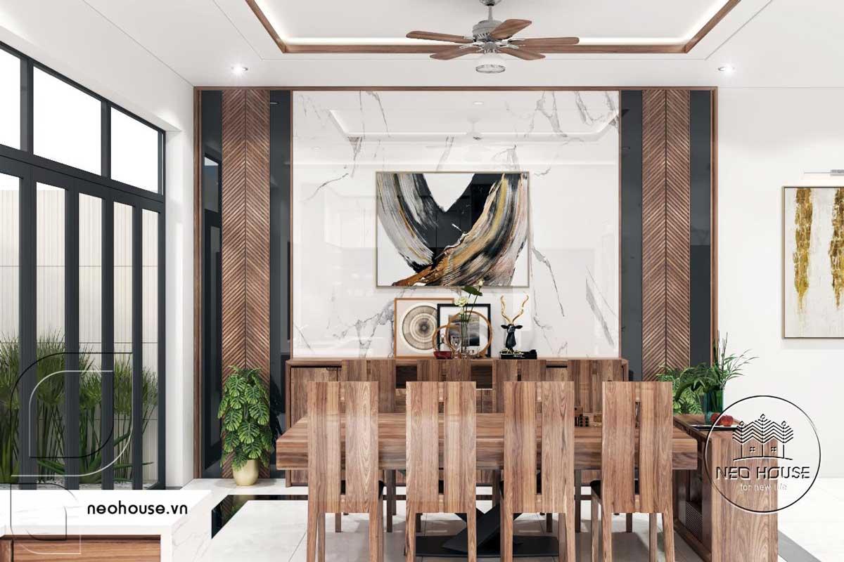 Phối cảnh thiết kế nội thất phòng ăn nhà phố 3 tầng hiện đại